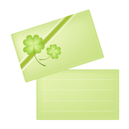 cloverleafes: Symbols for Fortune and Luck, Vector Illustration of A Green Greeting Cards with Four Leaf Clover or Shamrock for St. Patricks Day Celebration with Copy Space for Text Decorated.   Illustration