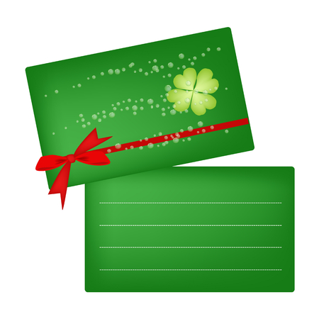 Symbols for Fortune and Luck, Vector Illustration of Green Greeting Card with Four Leaf Clover or Shamrock for St. Patricks Day Celebration with Copy Space for Text Decorated.   Vector