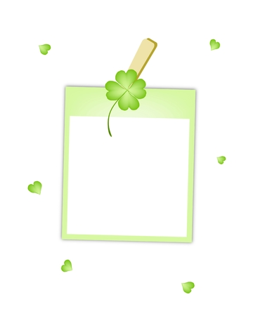 cloverleafes: Symbols for Fortune and Luck, Vector Illustration of Blank Instant Photo Print or Polaroid Frame Hanging on Lovely Four Leaf Clover Plant or Shamrock Clothespin.  Illustration