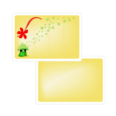 cloverleafes: Symbols for Fortune and Luck, Vector Illustration of Yellow Greeting Card with Four Leaf Clover or Shamrock in Saint Patricks Hat with Copy Space for Text Decorated.