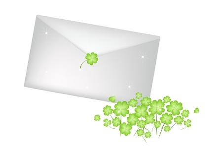 cloverleafes: Simboli per la fortuna e la fortuna, illustrazione di Fresh Four Leaf Clover piante o Shamrock vettoriale per St. Patricks Day Celebration isolato su sfondo bianco.