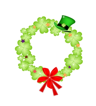 cloverleafes: Symbols for Fortune and Luck, Vector Illustration of Saint Patrick Wreath of Four Leaf Clover Plants or Shamrock Decorated with Green Hat, Stars Ornaments and Red Bow.  Illustration