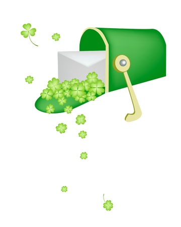 cloverleafes: Symbols for Fortune and Luck, Vector Illustration of Open Mailbox or Letter Box Receiving A Letter and Four Leaf Clover Plants or Shamrock for St. Patricks Day Celebration.  Illustration