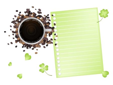 cloverleafes: Simboli per la fortuna e la fortuna, una tazza di caff� e di caff� tostato fagioli con documento in bianco a spirale e Fresh Four Leaf Clover piante o Shamrock isolato su sfondo bianco.