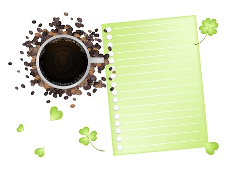 cloverleafes: Symbols for Fortune and Luck, A Cup of Coffee and Roasted Coffee Bean with Blank Spiral Paper and Fresh Four Leaf Clover Plants or Shamrock Isolated on White Background.
