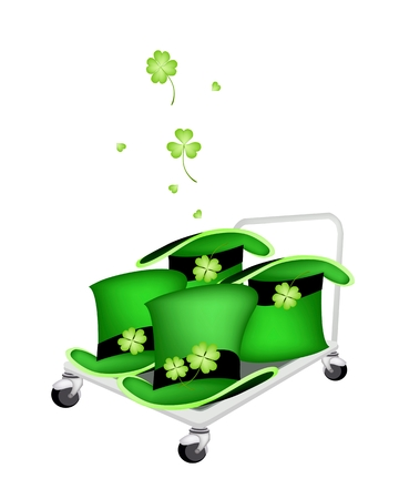 cloverleafes: Symbols for Fortune and Luck, Vector Illustration of Hand Truck or Dolly LoadingGreen Hat with Four Leaf Clover Plants or Shamrock for St. Patricks Day Celebration.