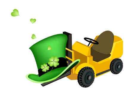 cloverleafes: Symbols for Fortune and Luck, Powered Industrial Forklift Loading Fresh Four Leaf Clover Plants or Shamrock for St. Patricks Day Celebration.