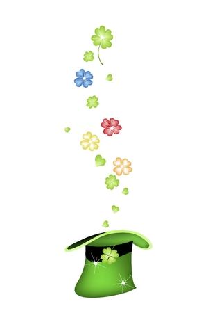 cloverleafes: Simboli per la fortuna e la fortuna, illustrazione vettoriale oro, verde, rosso e blu Four Leaf Clover o Acetoselle Falling in un cappello da San Patrizio. Vettoriali