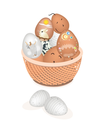 raw egg: Religion Concept, Vector Illustration of Traditionally Easter Egg in A Wicker Basket Isolated on White Backgrounds.