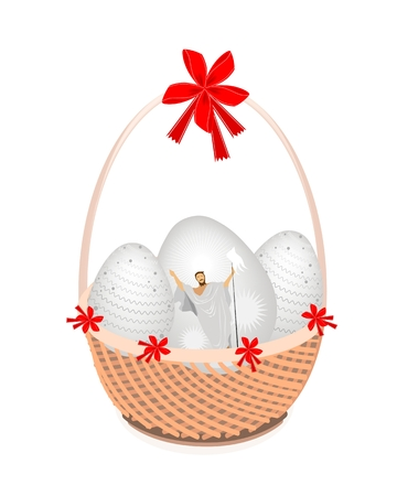 Religion Concept, Vector Illustration of Traditionally Easter Egg on A Beautiful Wicker Basket with Red Bow Isolated on White backgroundd.  Vector