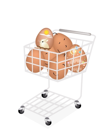 traditionally: Religion Concept, A Shopping Cart Full with Various Style of Traditionally Easter Egg Isolated on White Background.