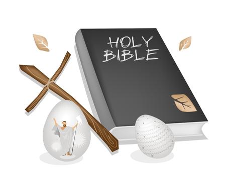 cruz de madera: Concepto Religioso, ilustraci�n vectorial de la Fundaci�n del cristianismo Negro Cubierta Biblia, Cruz de madera y tradicionalmente los huevos de Pascua.