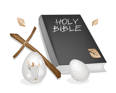 Religious Concept, Vector Illustration of The Foundation of Christianity Black Covered Bible, Wooden Cross and Traditionally Easter Eggs.  Vector