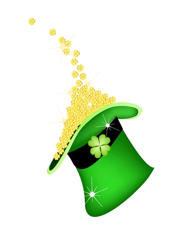 cloverleafes: Simboli per la fortuna e la fortuna, illustrazione vettoriale d'oro Four Leaf Clover o Acetoselle Cadere in un cappello da San Patrizio Archivio Fotografico