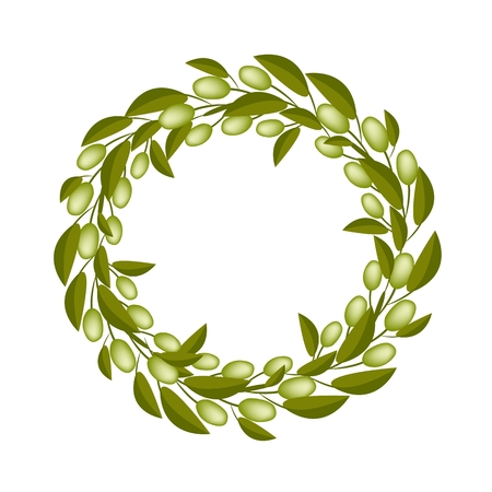 Vector Illustration of Beautiful Crown or Laurel Wreath of Fresh Green Olive and Leaves Isolated on White Background.  Vector