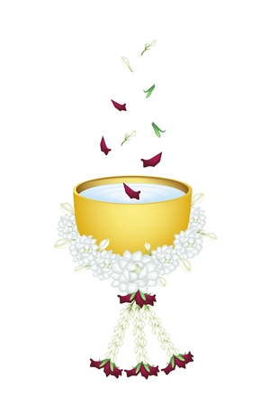 Songkran Festival, Vector Illustration of Beautiful Jasmine Garland with Water, Corolla of Roses and Jasmines in A Golden Bowl in Traditional Festival on Thailand New Year.