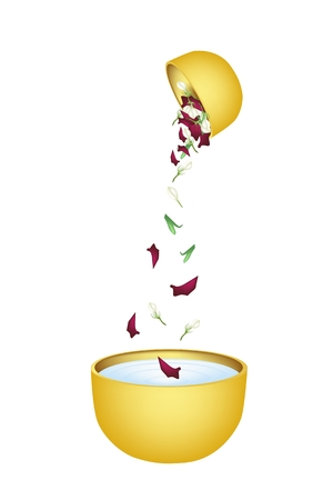 corolla: Songkran Festival, Vector Illustration of Beautiful Corolla of Roses and Jasmines Falling in A Golden Bowl in Traditional Festival on Thailand New Year.  Illustration