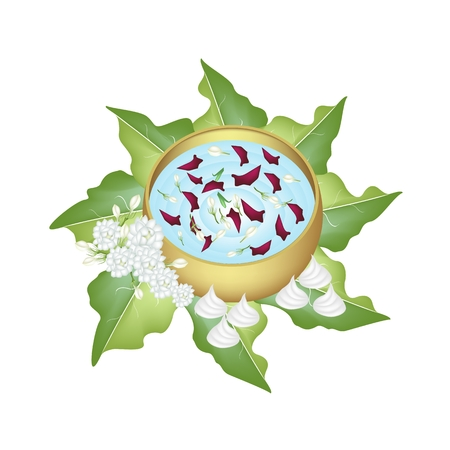 corolla: Songkran Festival, Vector Illustration of Water with Jusmine and Roses Corolla in A Golden Bowl and Soft Prepared Chalk for Songkran Celebration on Thailand New Year.