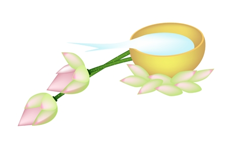 Vector Illustration of Two Beautiful Lotuses with Holy Water in A Golden Bowl Isolated on White Background.  Vector