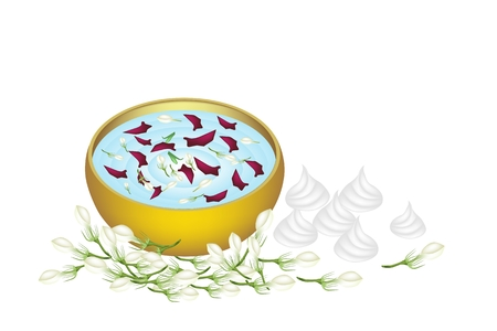 corolla: Songkran Festival, Vector Illustration of Water with Jasmine and Roses Corolla in A Golden Bowl and Soft Prepared Chalk for Songkran Festival on Thailand New Year.