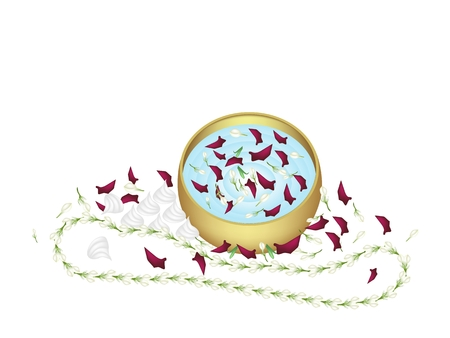 Songkran Festival, Vector Illustration of White Jasmine Garland and Soft Prepared Chalk with Water in A Golden Bowl in Traditional Festival on Thailand New Year.  illustration