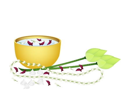 Vector Illustration of White Jasmine Garland, Lotus and Soft Prepared Chalk with Water in A Golden Bowl of Songkran Festival on Thailand New Year.  illustration
