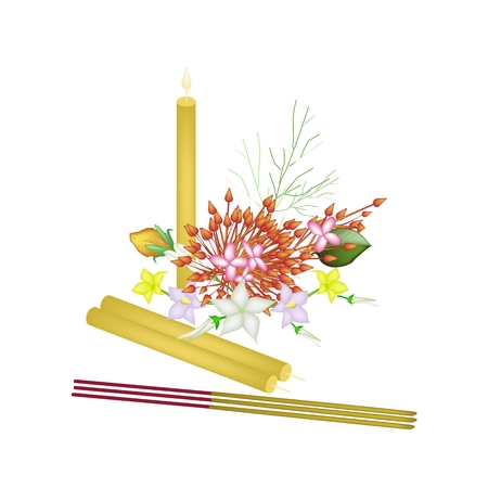 incense: Vector Illustration of Red Ixora Flowers, Egg Plant Flower and Burmuda Grass with Candle and Incense Sticks, A Symbols of Teacher Day in Thailand.