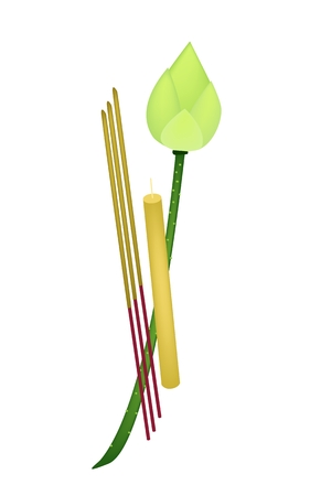 incense: An Illustration of A Fresh Lotus Flower or Water Lily with Candle and Incense Sticks Isolated on White Background.