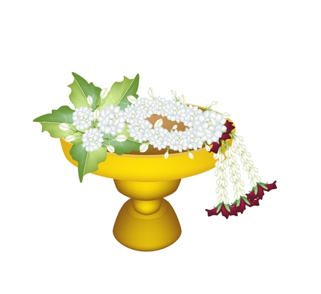 An Illustration of Beautiful Jasmine with Jasmine Garland with Roses Blossoms on Golden Tray with Pedestal, The Garland in Thai Tradition Style  Vector