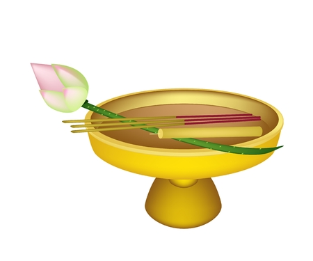scented candle: Thai Tradition Style, Vector Illustration of Beautiful Lotus with with Candle and Incense Sticks on Golden Tray with Pedestal.  Illustration
