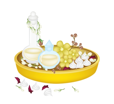 Vector Illustration of Perfume, Soft Prepared Chalk and Simpor Flowers with Jasmine and Roses Corolla in A Golden Tray for Songkran Festival on Thailand New Year.  Vector