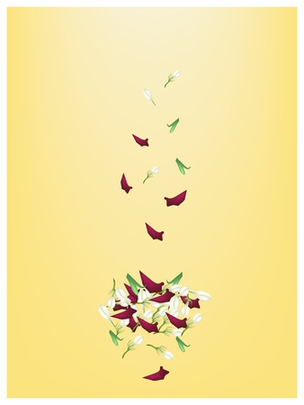 Illustration of Beautiful Corolla of Red Roses and White Jasmines on Yellow Background with Copy Space for Text Decorated .  Vector