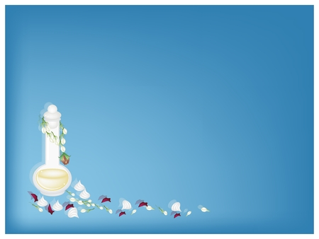 Beautiful Blue Background of Bottle of Essential Oil or Perfume with Soft Prepared Chalk and Jasmine Garland for Songkran Festival on Thailand New Year.  Vector