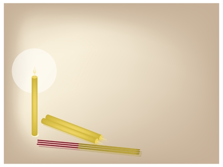 An Illustration Brown Background of Candle and Candlelight with Incense Sticks for Buddhist Prayers.  Vector