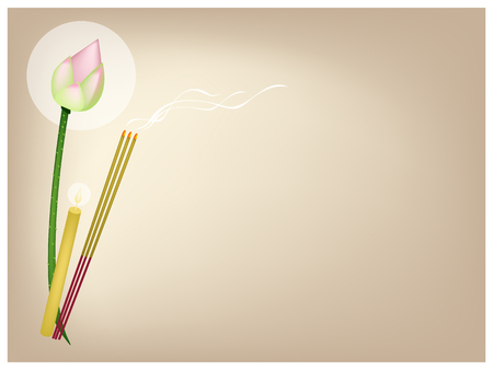 incense: An Illustration Brown Background of A Pink Lotus Flower or Water Lily with Candle and Incense Sticks for Buddhist Prayers.