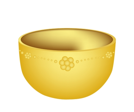empty bowl: An Illustration of Beautiful Golden Empty Bowl Isoleted on White Background, Usually Made of Metal Such As Copper, Silver, Brass or Steel.
