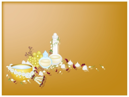 Songkran Festival, Gold Background of Bottle of Essential Oil or Perfume with Water and Jasmine Garland in Traditional Festival on Thailand New Year.  photo