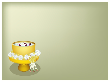 Songkran Festival, Illustration Background of Beautiful Jasmine Garland with Water, Corolla of Roses and Jasmines in A Golden Bowl in Traditional Festival on Thailand New Year.