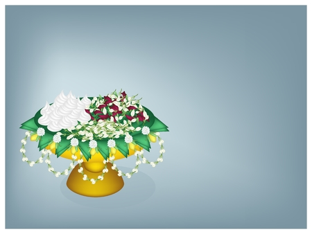 Illustration Blue Background of Golden Tray with Pedestal Decorated with Fresh Banana Leaves, Jasmine Flower and Jasmine Garland Full with Flower and Soft Prepared Chalk.  illustration