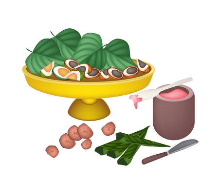 An Illustration of Ripe Areca Nut Chewed with Betel Leaves and Bowl of Red Lime on Golden Tray, Asian Traditional Chewing Gum to Make Teeth Stronger.  Vector