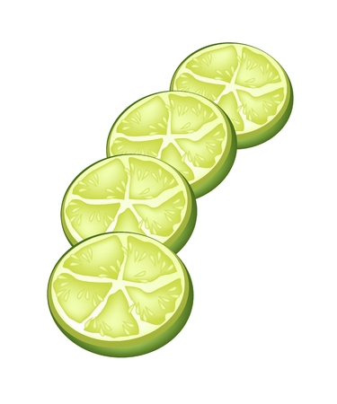 tree cross section: Vegetable and Herb, An Illustration of A Delicious Fresh and Ripe Limes with Juicy Slice of Limes Isolated on White Background.
