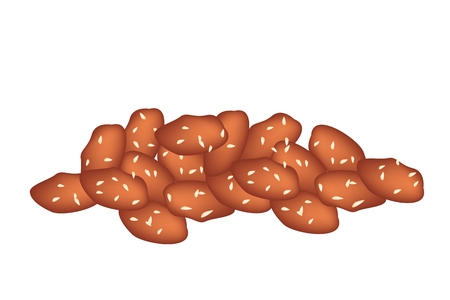 dietary fiber: Snack and Dessert, A Pile of Caramelised Peanuts with Sesame on A White Background, Snack of Dietary Fiber, Vitamins and Minerals.