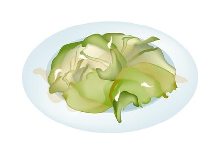 Stir Fried Cabbage with Oyster Sauce or Fish Sauce on A White Dish, Healthy and Flavoursome Dish in Asian Restaurant.  Vector
