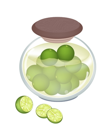preserved: Fruit, An Illustration of Pickled Mangoes or Preserved Limes in Brine of Water and Salt in Glass Jar Isolated on White Background.
