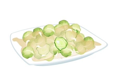 flavoursome: Stir Fried Brussels Sprout with Oyster Sauce or Fish Sauce on A White Dish, Healthy and Flavoursome Dish in Asian Restaurant.