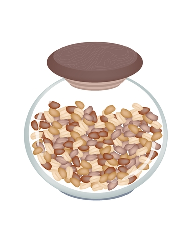 dietary fiber: A Stack of Whole and Half Dried Peanuts in Glass Jar, Good Source of Dietary Fiber, Vitamins and Minerals.