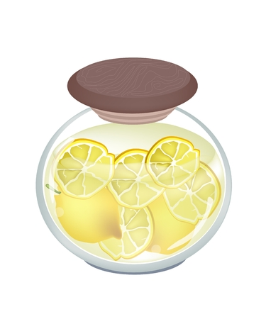 thai herb: Fruit, An Illustration of Pickled Lemons or Preserved Lemons in Brine of Water and Salt in Glass Jar Isolated on White Background.