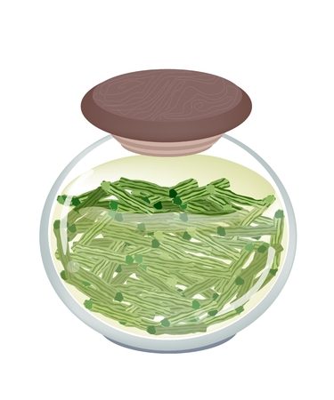 sajna: Vegetable and Herb, Illustration of Delicious Pickled Moringa Pod in Brine of Vinegar and Sugar in A Glass Jar Isolated on White Background.
