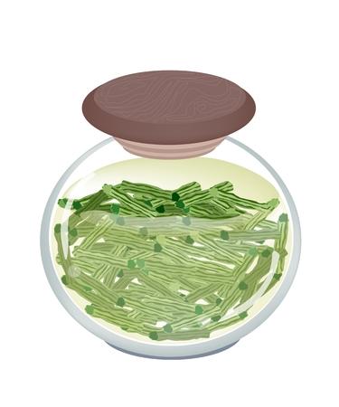 mlonge: Verdura e Herb, illustrazione di Delicious marinato Moringa Pod in salamoia di aceto e zucchero in un vaso di vetro isolato su sfondo bianco.