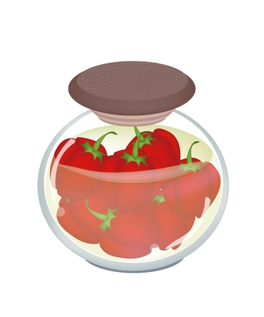 Illustration of Delicious Pickled Red Bell Peppers or Sweet Peppers in Vinegar, Sugar, Salt and Condiment in A Glass Jar.  Vector